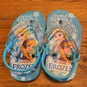 Disney Frozen Anna and Elsa Flip Flops Size 5/6